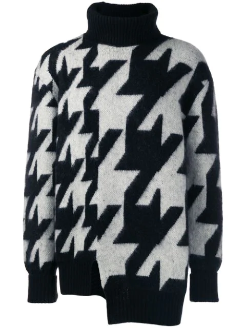 Alexander Mcqueen Asymmetric Houndstooth Mohair-Blend Rollneck Sweater In Black