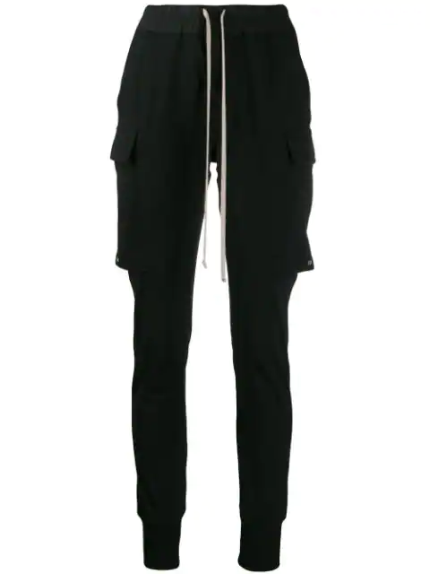 Rick Owens Poplin-Trimmed Cotton-Jersey Track Pants In Black