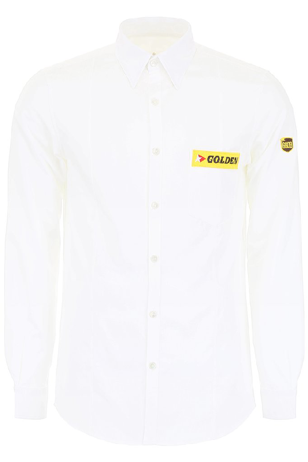 Golden Goose Deluxe Brand Embroidered Logo Patch Shirt In White