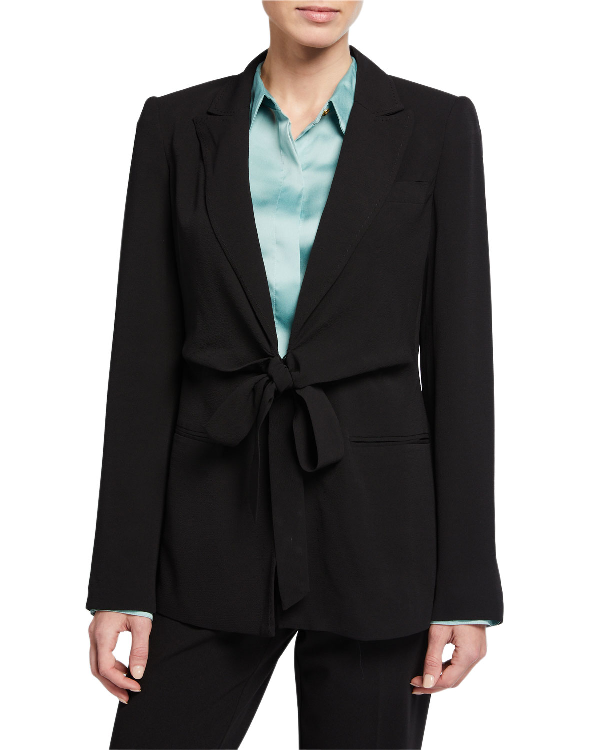 Donna Karan New York Tie-Front Jacket In Black