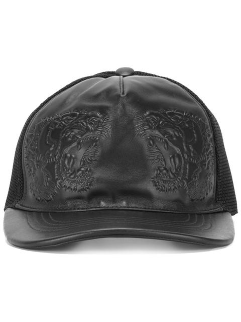 7a84ac369ed53 Gucci Tiger-Embossed Leather Baseball Hat