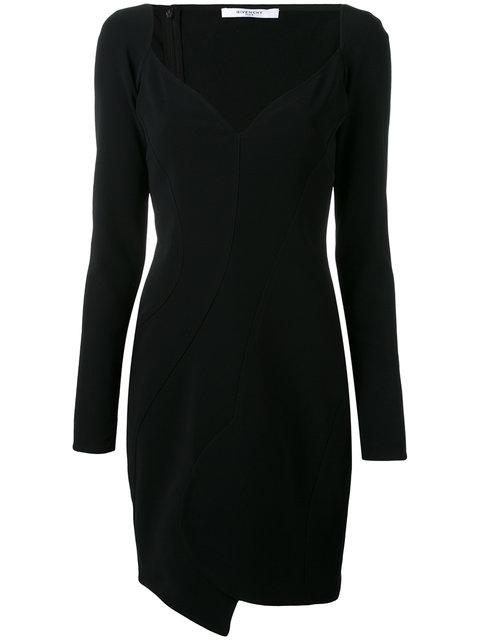 Givenchy Long-Sleeve Cady Sweetheart Dress, Black