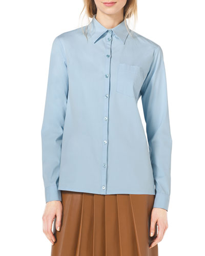 Michael Kors Classic Stretch-Cotton Button Shirt In Ice