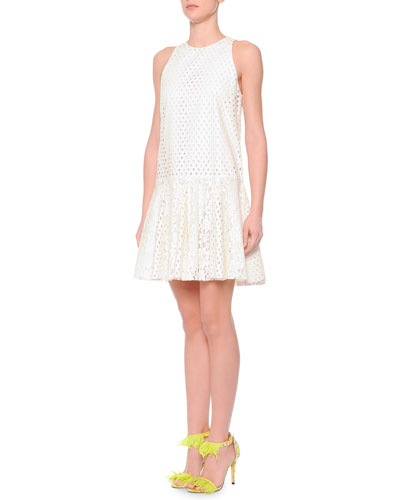 Msgm Eyelet/Lace Drop-Waist Dress, White