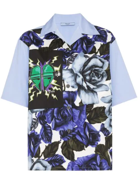 Prada Rose And Heart-Print Cotton Shirt In Cobalto Azurro