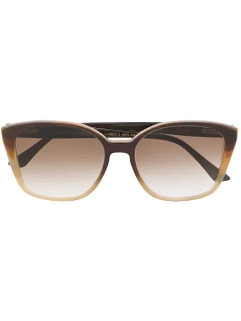 Ralph Vaessen Square Frame Glasses In 棕色