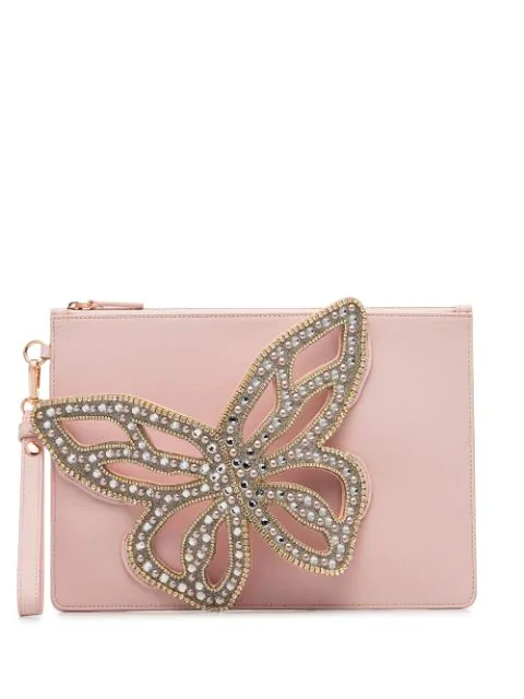 Sophia Webster Flossy Butterfly Clutch Bag In Sunkissed Pink