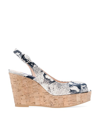 Stuart Weitzman Women's Jean Peep Toe Platform Wedge Sandals In Black And White Python Printed Leather