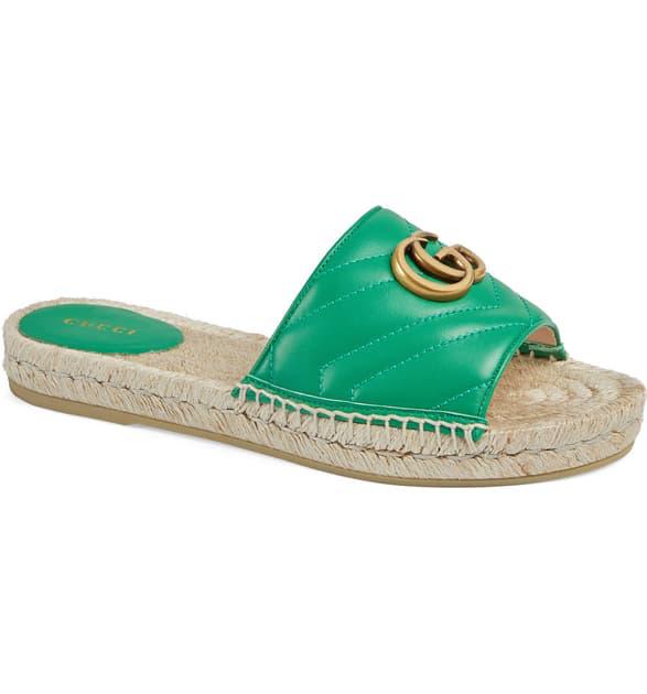 Gucci Pilar Espadrille Slide Sandal In Shamrock