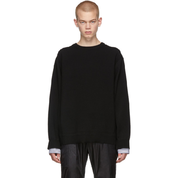 Juun.j Black Layered Crewneck Sweater In 5 Black