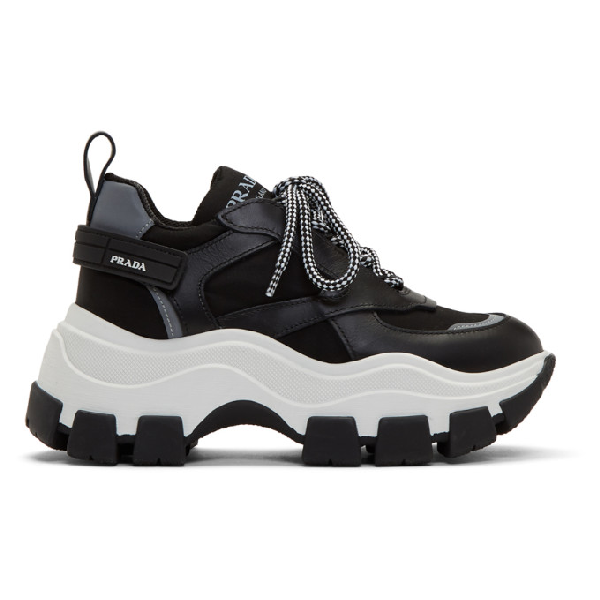 Prada Leather And Fabric Sneakers With Maxi Sole In Black/white