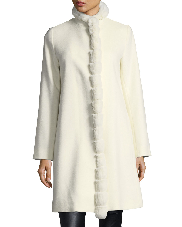 Fleurette Fur-Trimmed Stand-Collar Wool Coat In Parchment Rex