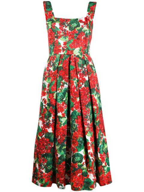 Dolce & Gabbana Portofino-print Brocade Midi Dress In Hav03 Gerani Fdo Bco Nat