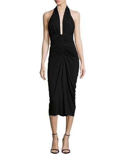Michael Kors Halter Ruched Jersey Dress In Black
