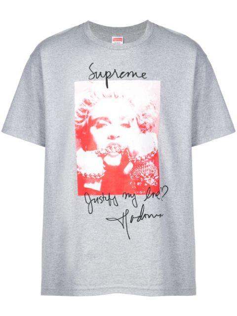 Supreme Madonna Print T-shirt In Grey