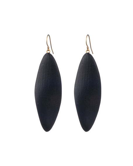 Alexis Bittar Long Leaf-inspired Lucite Drop Earrings In Black