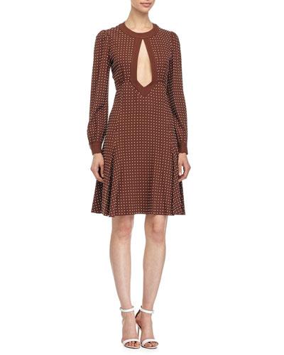 Michael Kors Dot-Print Fit-&-Flare Dress, Nutmeg