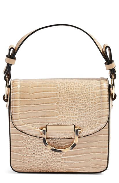 Topshop Carrie Croc Shoulder Bag In Stone