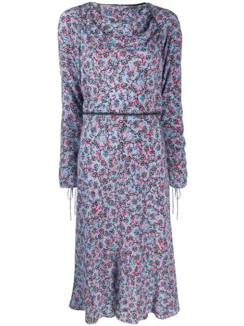 Marni Boat Neck Printed Dress In Blue