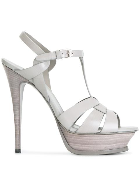 10c76235f81 These pearl grey calf leather and leather Classic Tribute 105 sandals from Saint  Laurent ...