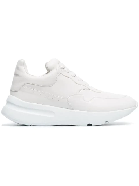 Alexander Mcqueen Optical White Runner Oversized Leather Sneakers