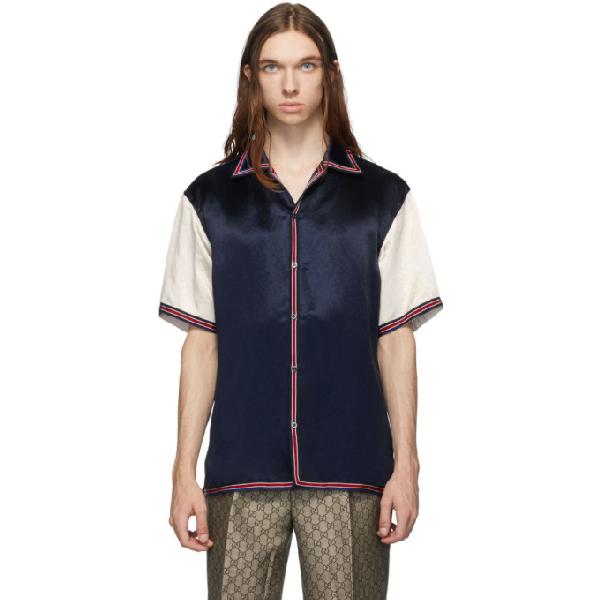 Gucci Camp-collar Logo-embroidered Satin Shirt In 蓝色