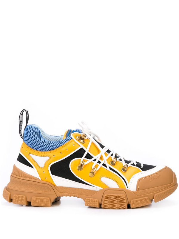 Gucci Flashtrek Rubber, Leather, Mesh And Suede Sneakers In Brown