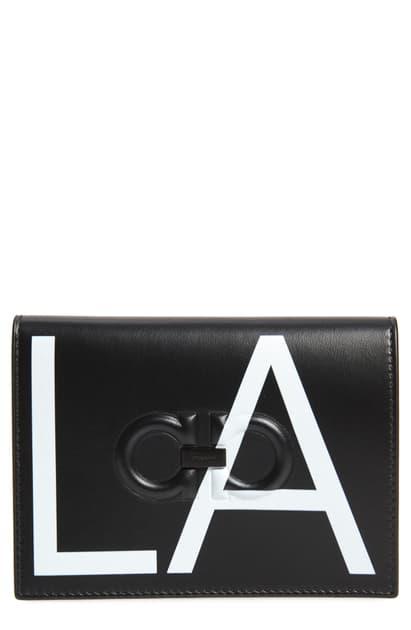 Salvatore Ferragamo Men's City La Leather Passport Holder In Black/ White