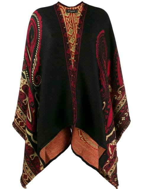 Etro Paisley-Jacquard Wool-Blend Fringed Cape In Black