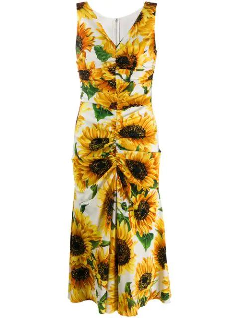 Dolce & Gabbana Ruched Floral-print Silk Midi Dress In Hahh9 Girasoli Fdo Panna