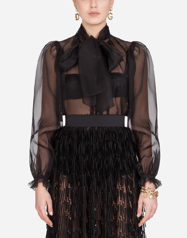 Dolce & Gabbana Balloon-Sleeve Silk-Organza Blouse In Black