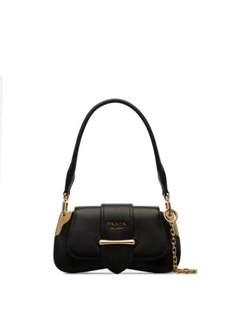 Prada Sidonie Leather Shoulder Bag - Black