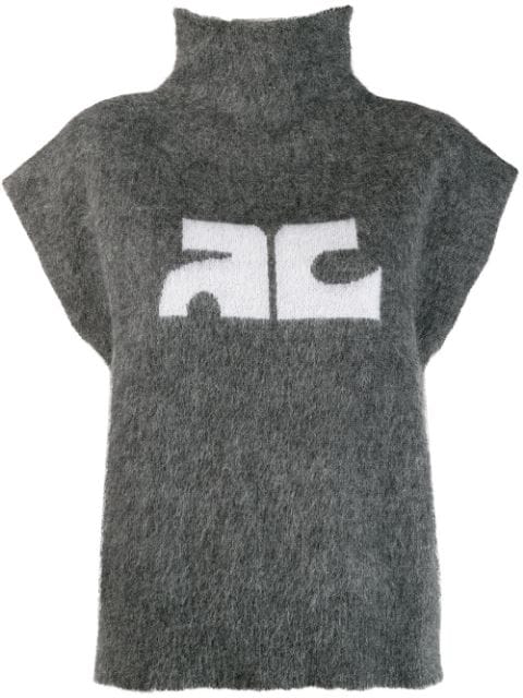 CourrÈGes Logo Print High Neck Top In Grey
