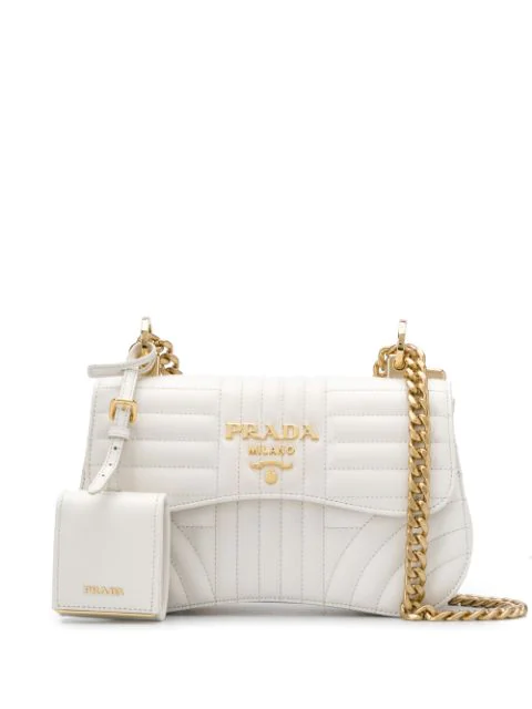 Prada Diagramme Cross Body Bag In White