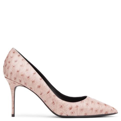 Giuseppe Zanotti Lucrezia Ostrich-Embossed Leather High Pump, Strucky, Struky Pri In Pink