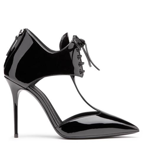 Giuseppe Zanotti Black Patent Leather Lace-Up 'Lucrezia' Pumps