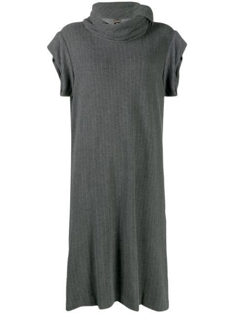Jean Paul Gaultier 1990's Pinstriped Midi Dress In Grey