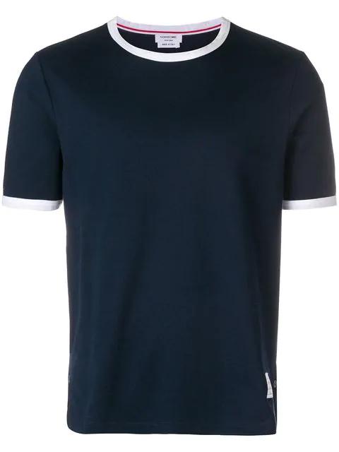 Thom Browne Tri-colour Step-hem Cotton T-shirt In 415 Navy