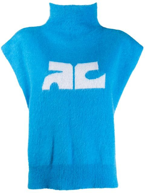 CourrÈGes Logo Print High Neck Top In Blue