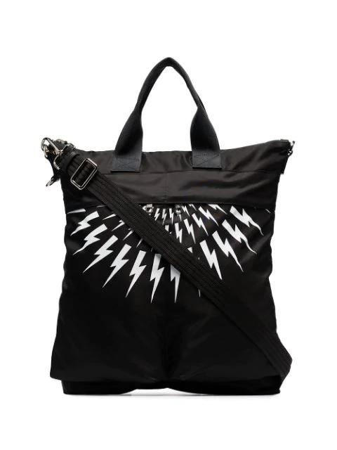 Neil Barrett Thunderbolt Tote Bag In Black
