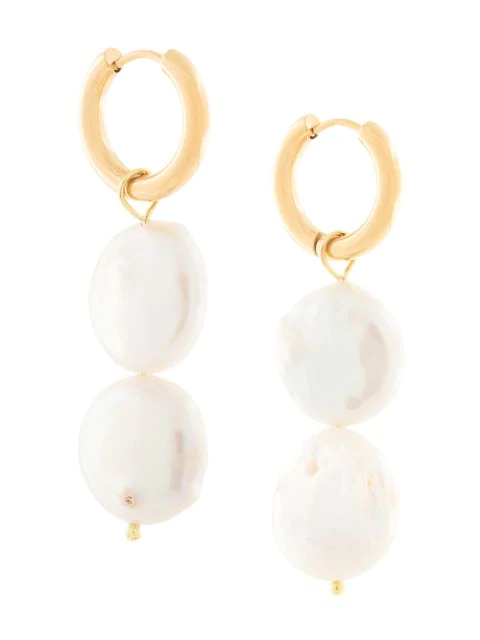 Sandralexandra Copo Double-pearl Earring In Gold