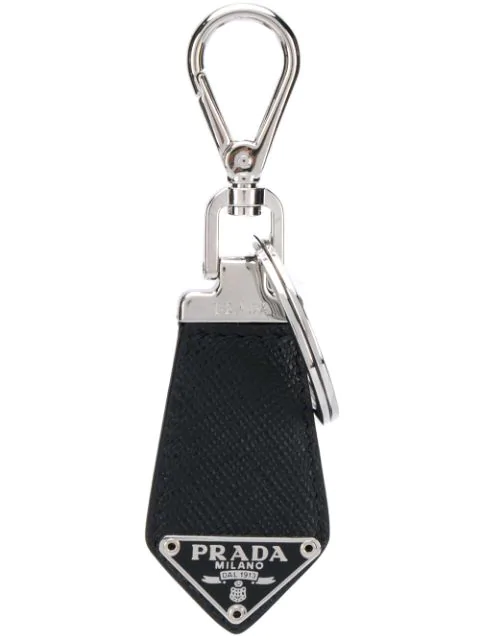 Prada Logo Plaque Keyring In Black