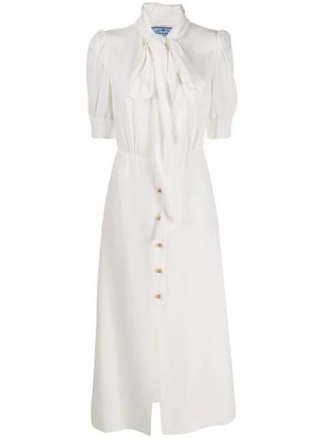 Prada Pussy-bow Crepe De Chine Midi Dress In White