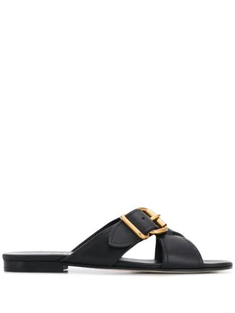 Prada Buckle Flat Sandals In Black