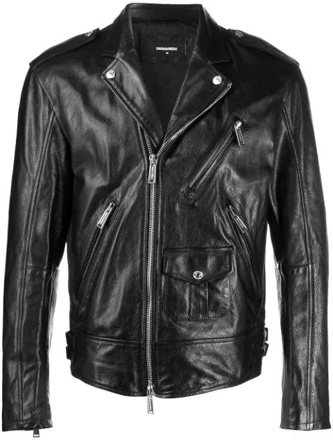 Dsquared2 Classic Biker Jacket In Black