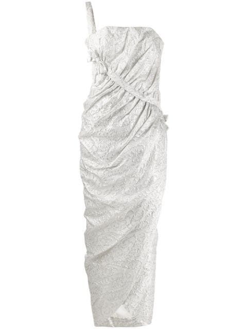 Pre-owned A.n.g.e.l.o. Vintage Cult 1960's Gathered Jacquard Gown In Silver