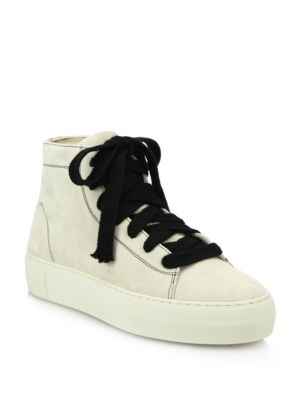 Helmut Lang High-Top Suede Lace-Up Sneakers In Cream