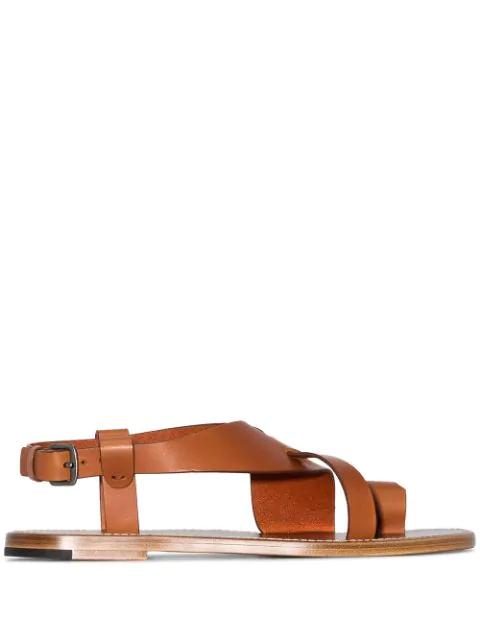 Bottega Veneta Cross-Over Strap Sandals In 7663 Brown