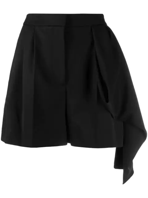 Alexander Mcqueen Draped-Panel High-Rise Wool Shorts In 1000 -  Black
