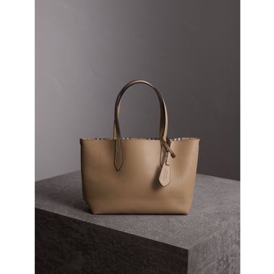 12981ac93674 Burberry The Medium Reversible Tote In Haymarket Check And Leather In Mid  Camel